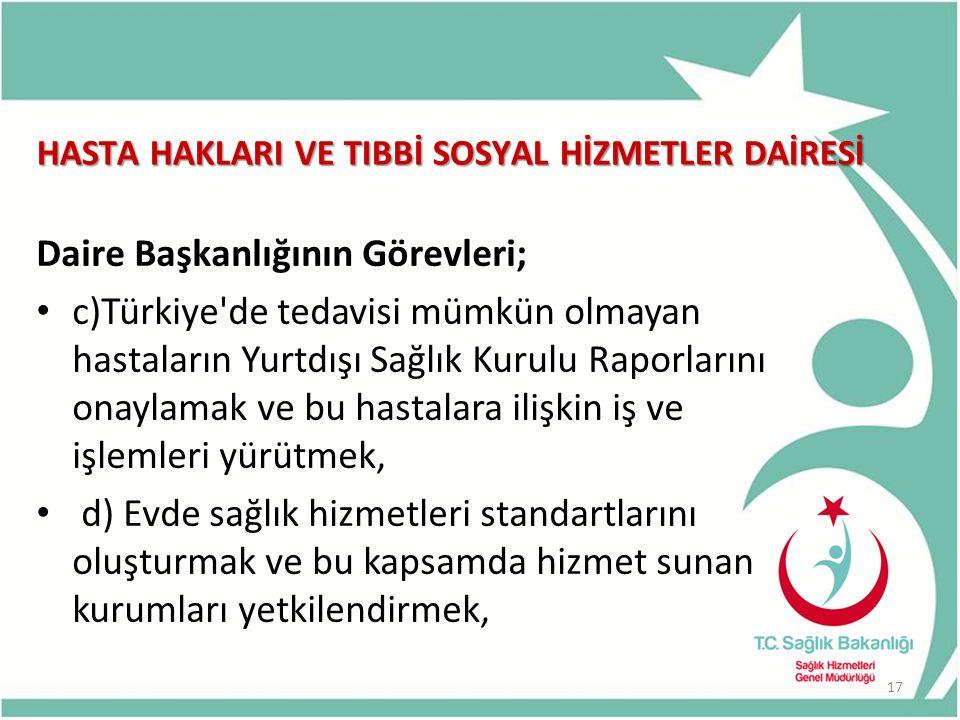 HASTA HAKLARI VE TIBBİ SOSYAL HİZMETLER DAİRESİ Daire Başkanlığının Görevleri; c)Türkiye'de tedavisi mümkün olmayan hastaların Yurtdışı Sağlık Kurulu