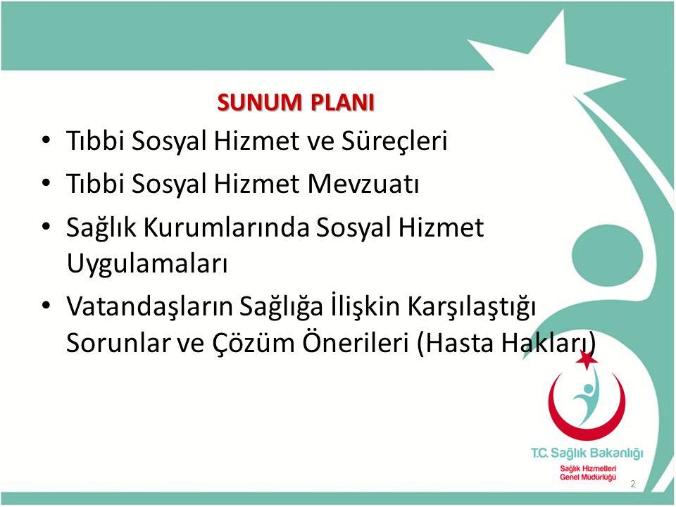 SUNUM PLANI Tıbbi Sosyal Hizmet ve Süreçleri Tıbbi Sosyal Hizmet Mevzuatı Sağlık Kurumlarında Sosyal Hizmet Uygulamaları Vatandaşların Sağlığa İlişkin Karşılaştığı Sorunlar ve Çözüm Önerileri (Hasta Hakları) 2