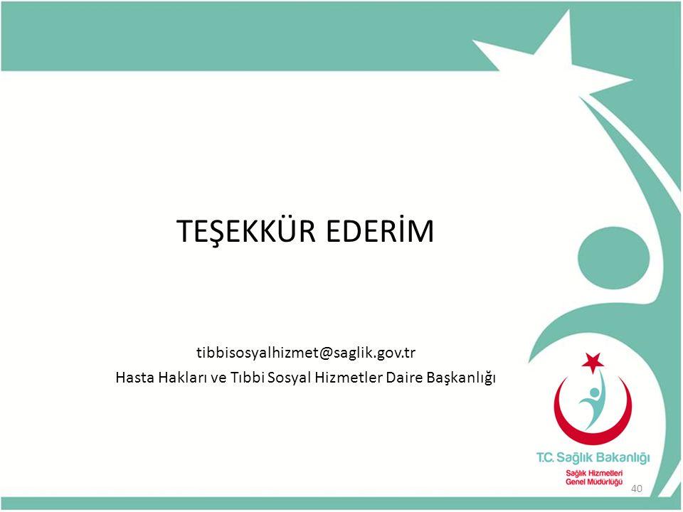 TEŞEKKÜR EDERİM tibbisosyalhizmet@saglik.gov.tr Hasta Hakları ve Tıbbi Sosyal Hizmetler Daire Başkanlığı 40