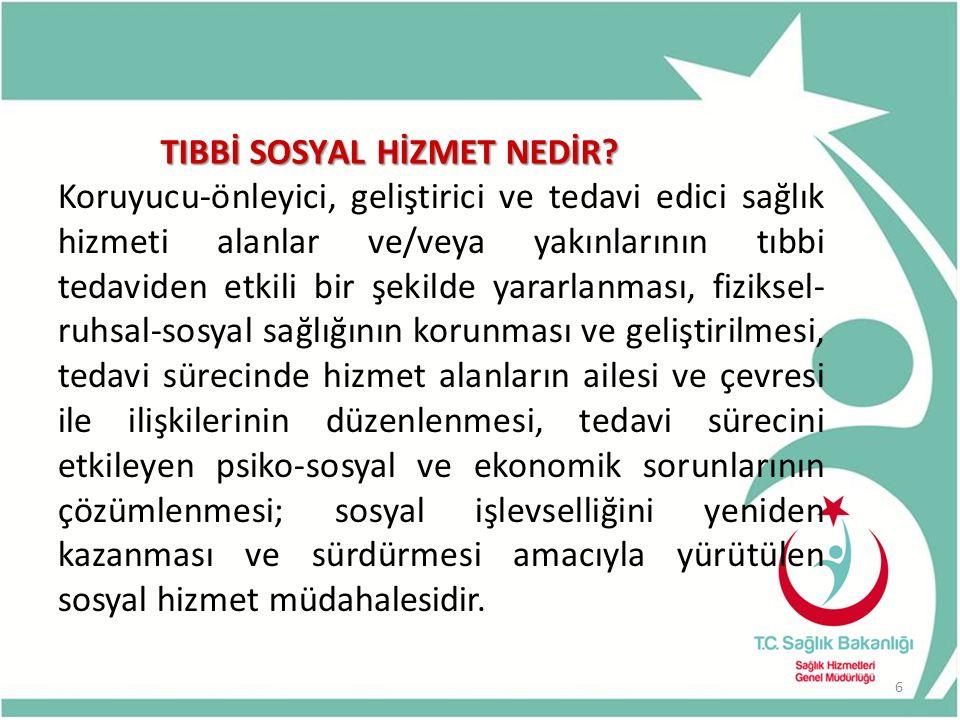 HASTA HAKLARI VE TIBBİ SOSYAL HİZMETLER DAİRESİ Daire Başkanlığının Görevleri; c)Türkiye de tedavisi mümkün olmayan hastaların Yurtdışı Sağlık Kurulu Raporlarını onaylamak ve bu hastalara ilişkin iş ve işlemleri yürütmek, d) Evde sağlık hizmetleri standartlarını oluşturmak ve bu kapsamda hizmet sunan kurumları yetkilendirmek, 17