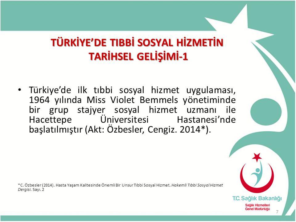 TÜRKİYE'DE TIBBİ SOSYAL HİZMETİN TARİHSEL GELİŞİMİ-1 Türkiye'de ilk tıbbi sosyal hizmet uygulaması, 1964 yılında Miss Violet Bemmels yönetiminde bir g
