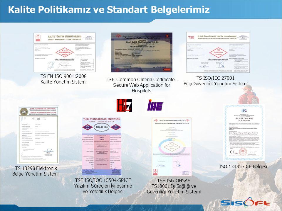 Kalite Politikamız ve Standart Belgelerimiz TS EN ISO 9001:2008 Kalite Yönetim Sistemi TS ISO/IEC 27001 Bilgi Güvenliği Yönetim Sistemi TSE ISG OHSAS TS18001 İş Sağlığı ve Güvenliği Yönetim Sistemi TS 13298 Elektronik Belge Yönetim Sistemi ISO 13485 - CE Belgesi TSE ISO/IOC 15504-SPICE Yazılım Süreçleri İyileştirme ve Yeterlilik Belgesi TSE Common Criteria Certificate - Secure Web Application for Hospitals