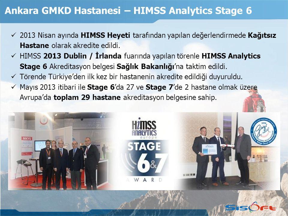 Ankara GMKD Hastanesi – HIMSS Analytics Stage 6 2013 Nisan ayında HIMSS Heyeti tarafından yapılan değerlendirmede Kağıtsız Hastane olarak akredite edildi.