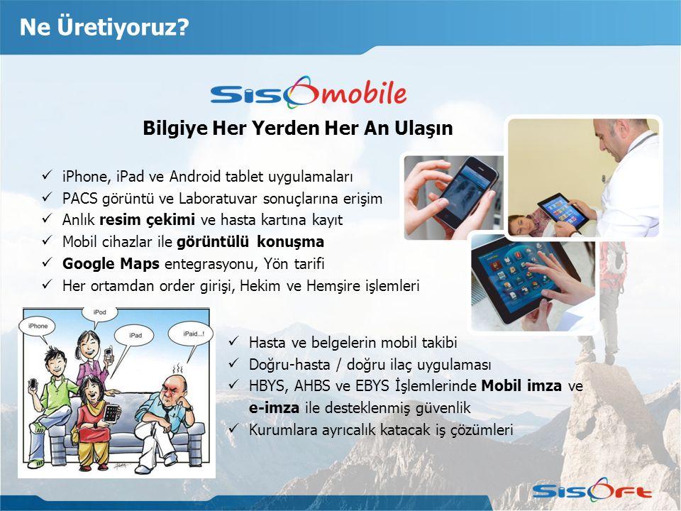 Ne Üretiyoruz? Bilgiye Her Yerden Her An Ulaşın iPhone, iPad ve Android tablet uygulamaları PACS görüntü ve Laboratuvar sonuçlarına erişim Anlık resim