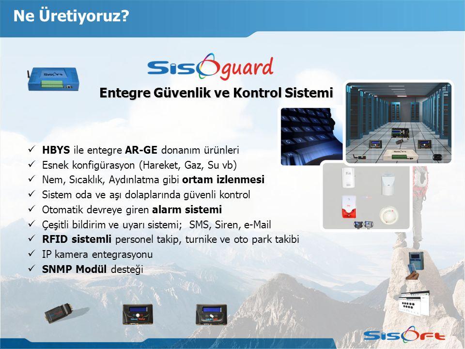 Ne Üretiyoruz? Entegre Güvenlik ve Kontrol Sistemi Entegre Güvenlik ve Kontrol Sistemi HBYS ile entegre AR-GE donanım ürünleri Esnek konfigürasyon (Ha