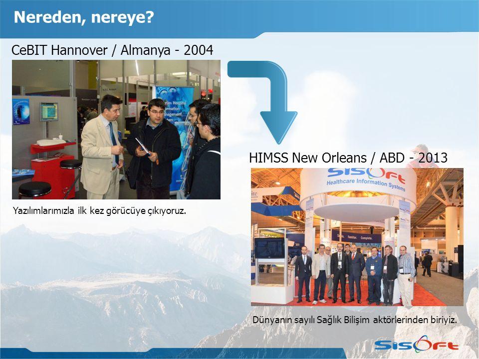 CeBIT Hannover / Almanya - 2004 HIMSS New Orleans / ABD - 2013 Nereden, nereye? Yazılımlarımızla ilk kez görücüye çıkıyoruz. Dünyanın sayılı Sağlık Bi
