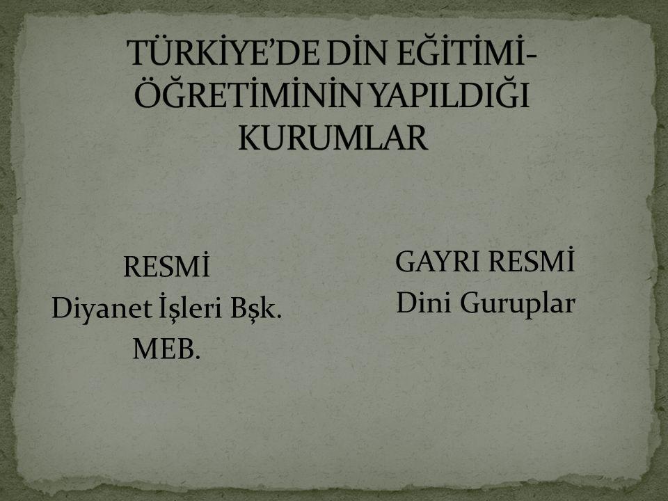 RESMİ Diyanet İşleri Bşk. MEB. GAYRI RESMİ Dini Guruplar