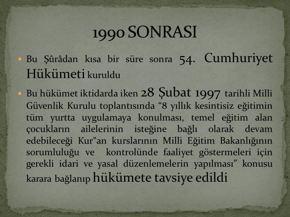 """Bu Şûrâdan kısa bir süre sonra 54. Cumhuriyet Hükümeti kuruldu Bu hükümet iktidarda iken 28 Şubat 1997 tarihli Milli Güvenlik Kurulu toplantısında """"8"""