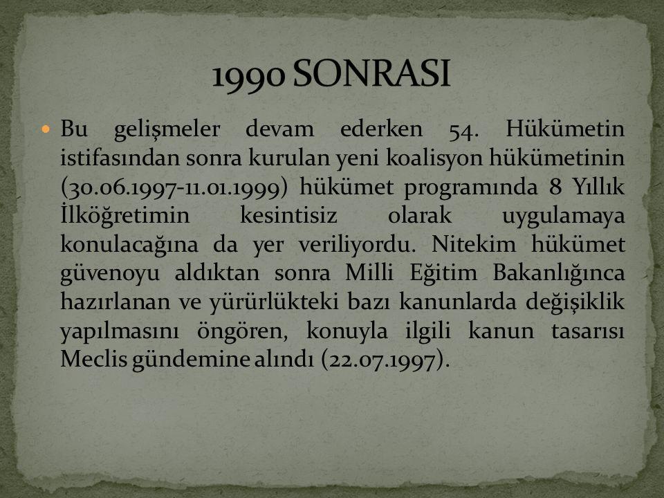 Bu gelişmeler devam ederken 54. Hükümetin istifasından sonra kurulan yeni koalisyon hükümetinin (30.06.1997-11.01.1999) hükümet programında 8 Yıllık İ