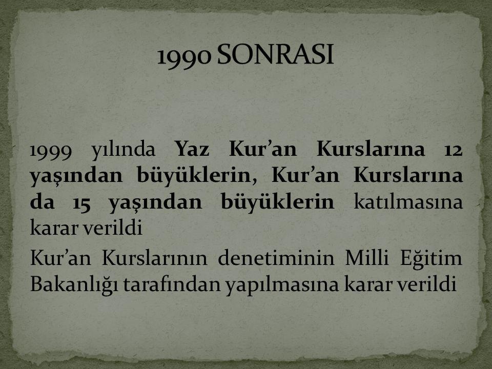 1999 yılında Yaz Kur'an Kurslarına 12 yaşından büyüklerin, Kur'an Kurslarına da 15 yaşından büyüklerin katılmasına karar verildi Kur'an Kurslarının denetiminin Milli Eğitim Bakanlığı tarafından yapılmasına karar verildi