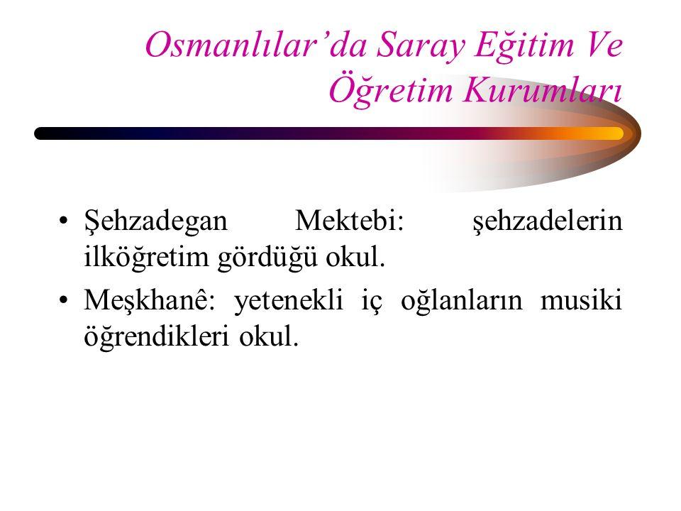 Osmanlılar'da Saray Eğitim Ve Öğretim Kurumları Şehzadegan Mektebi: şehzadelerin ilköğretim gördüğü okul. Meşkhanê: yetenekli iç oğlanların musiki öğr