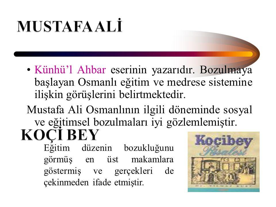 Künhü'l Ahbar eserinin yazarıdır. Bozulmaya başlayan Osmanlı eğitim ve medrese sistemine ilişkin görüşlerini belirtmektedir. Mustafa Ali Osmanlının il
