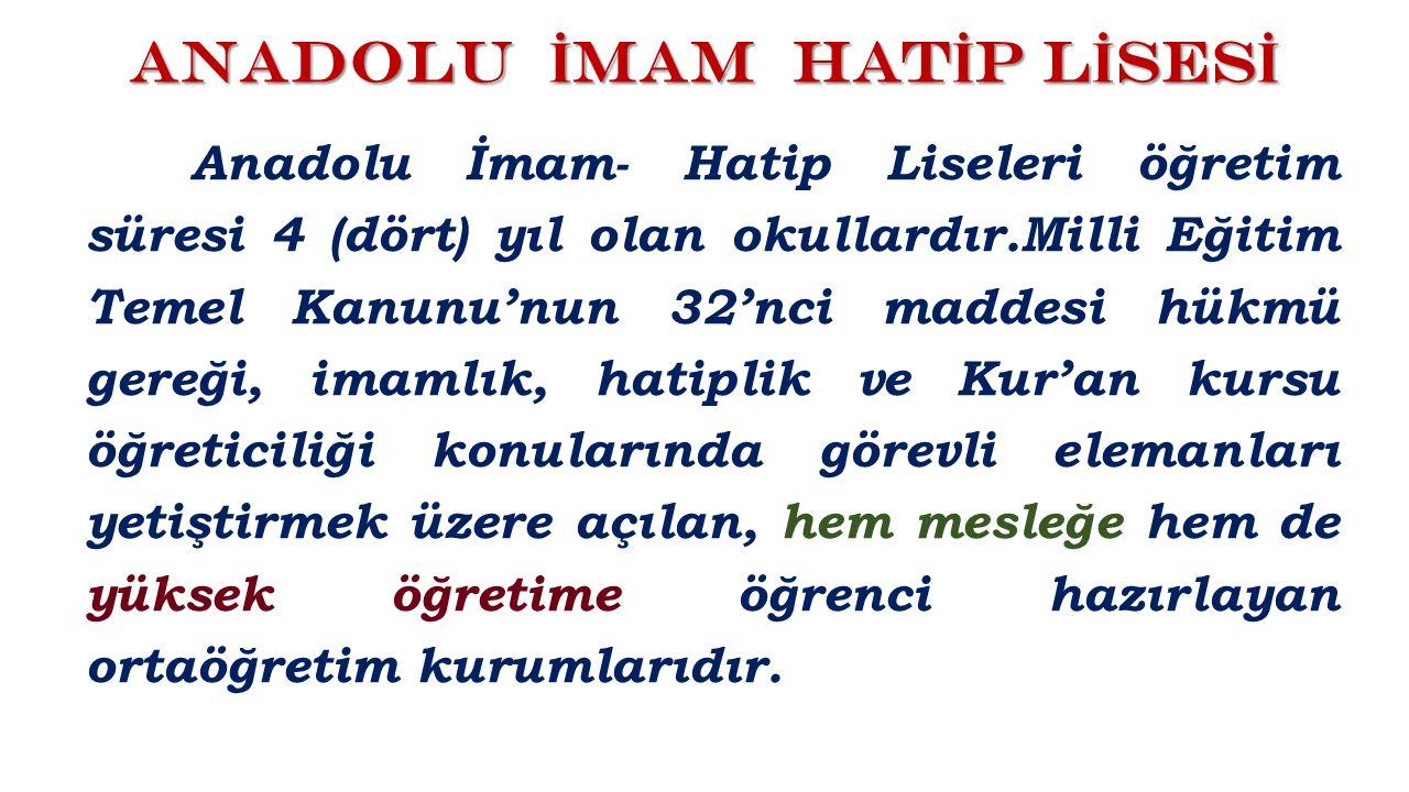 Anadolu İmam Hatip Liselerinde Genel Kültür ve Akademik dersler yanında İmam-Hatip Meslek Dersleri okutulmaktadır.