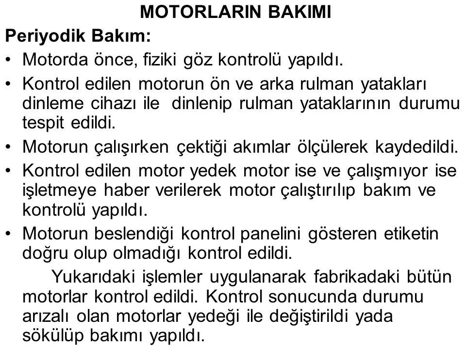 MOTORLARIN BAKIMI Periyodik Bakım: Motorda önce, fiziki göz kontrolü yapıldı.