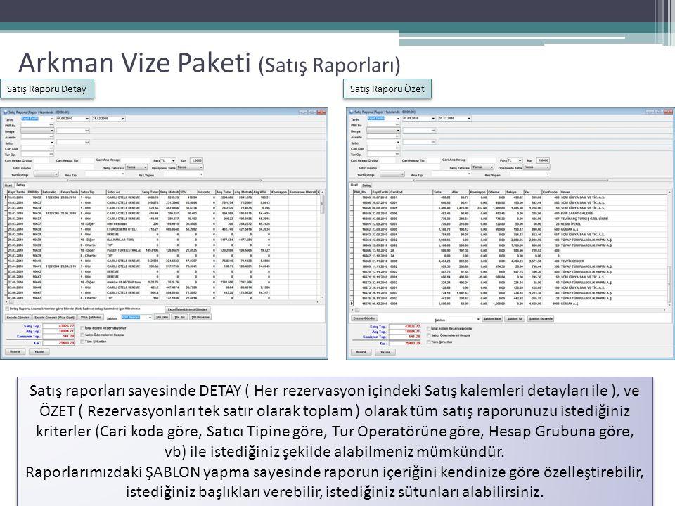 Arkman Vize Paketi (Vize Takip Ekranı) Vize Takip Ekranı sayesinde yolcularınızın: Vizeleri Çıktı mı.
