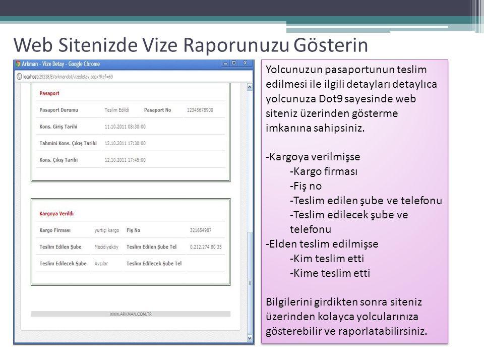 Web Sitenizde Vize Raporunuzu Gösterin Yolcunuzun pasaportunun teslim edilmesi ile ilgili detayları detaylıca yolcunuza Dot9 sayesinde web siteniz üzerinden gösterme imkanına sahipsiniz.