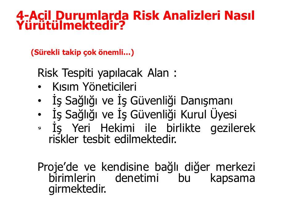 İKM-02 4-Acil Durumlarda Risk Analizleri Nasıl Yürütülmektedir? Risk Tespiti yapılacak Alan : Kısım Yöneticileri İş Sağlığı ve İş Güvenliği Danışmanı