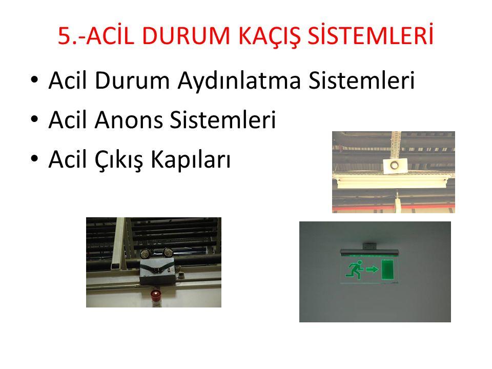 5.-ACİL DURUM KAÇIŞ SİSTEMLERİ Acil Durum Aydınlatma Sistemleri Acil Anons Sistemleri Acil Çıkış Kapıları