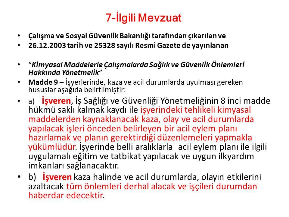 """Çalışma ve Sosyal Güvenlik Bakanlığı tarafından çıkarılan ve 26.12.2003 tarih ve 25328 sayılı Resmi Gazete de yayınlanan """"Kimyasal Maddelerle Çalışmal"""