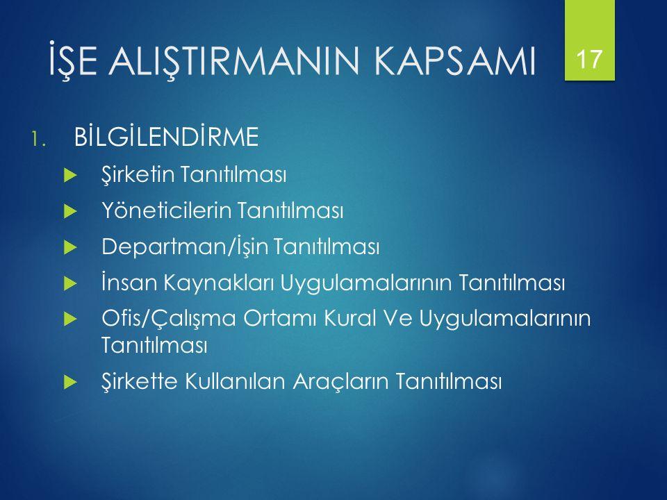 İŞE ALIŞTIRMANIN KAPSAMI 1.