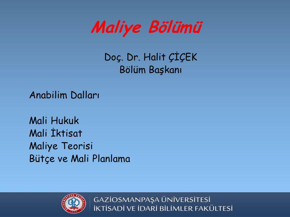 Maliye Bölümü Doç. Dr.