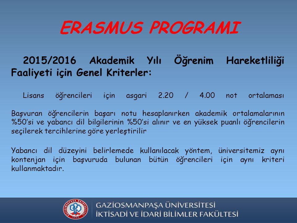 ERASMUS PROGRAMI 2015/2016 Akademik Yılı Öğrenim Hareketliliği Faaliyeti için Genel Kriterler: Lisans öğrencileri için asgari 2.20 / 4.00 not ortalaması Başvuran öğrencilerin başarı notu hesaplanırken akademik ortalamalarının %50'si ve yabancı dil bilgilerinin %50'si alınır ve en yüksek puanlı öğrencilerin seçilerek tercihlerine göre yerleştirilir Yabancı dil düzeyini belirlemede kullanılacak yöntem, üniversitemiz aynı kontenjan için başvuruda bulunan bütün öğrencileri için aynı kriteri kullanmaktadır.