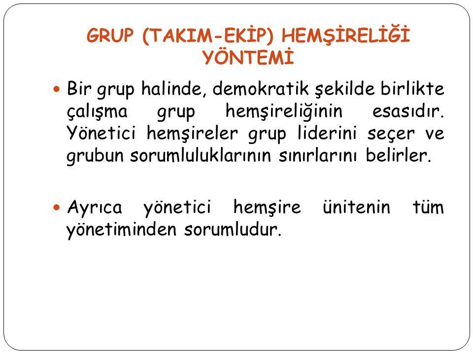GRUP (TAKIM-EKİP) HEMŞİRELİĞİ YÖNTEMİ Bir grup halinde, demokratik şekilde birlikte çalışma grup hemşireliğinin esasıdır. Yönetici hemşireler grup lid