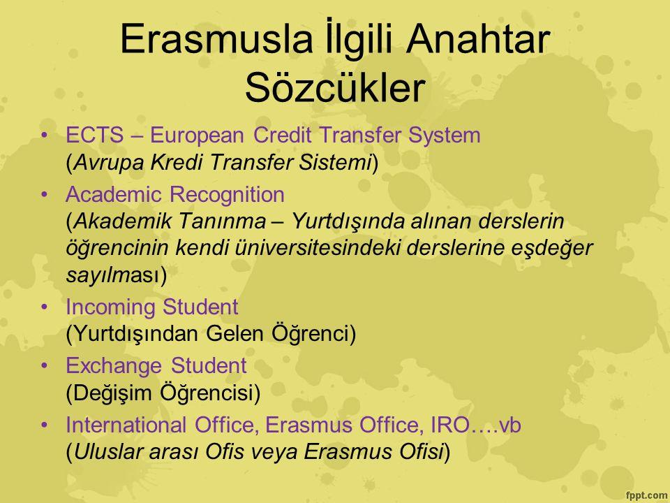 Erasmusla İlgili Anahtar Sözcükler ECTS – European Credit Transfer System (Avrupa Kredi Transfer Sistemi) Academic Recognition (Akademik Tanınma – Yurtdışında alınan derslerin öğrencinin kendi üniversitesindeki derslerine eşdeğer sayılması) Incoming Student (Yurtdışından Gelen Öğrenci) Exchange Student (Değişim Öğrencisi) International Office, Erasmus Office, IRO….vb (Uluslar arası Ofis veya Erasmus Ofisi)
