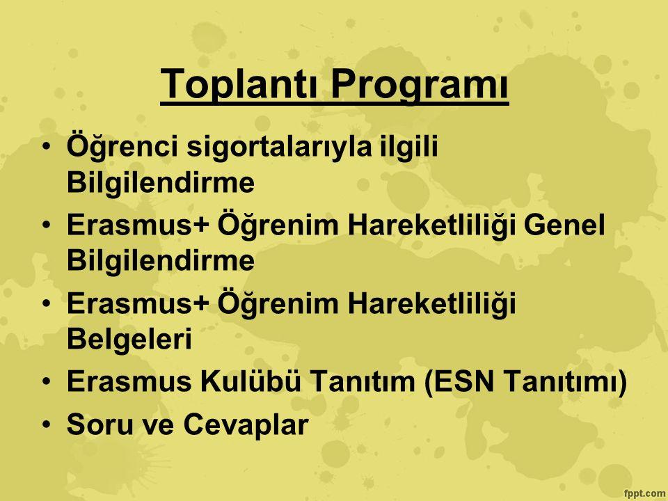 Toplantı Programı Öğrenci sigortalarıyla ilgili Bilgilendirme Erasmus+ Öğrenim Hareketliliği Genel Bilgilendirme Erasmus+ Öğrenim Hareketliliği Belgeleri Erasmus Kulübü Tanıtım (ESN Tanıtımı) Soru ve Cevaplar