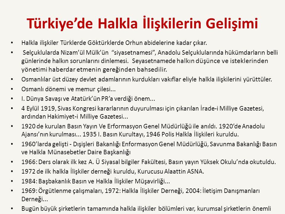 Türkiye'de Halkla İlişkilerin Gelişimi Halkla ilişkiler Türklerde Göktürklerde Orhun abidelerine kadar çıkar.