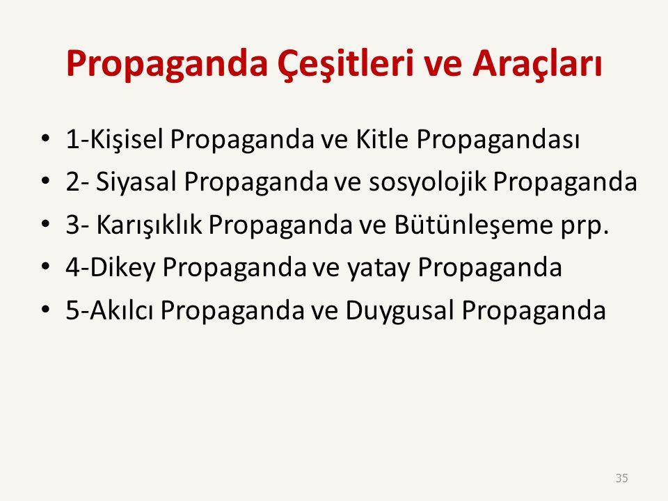 Propaganda Kitlelere sayısız iletiler yönelterek kamuoyunu etkilemek; kamuoyuna belirli bir düşünce, inanç aşılamak, bir tutum ve davranış biçimini be
