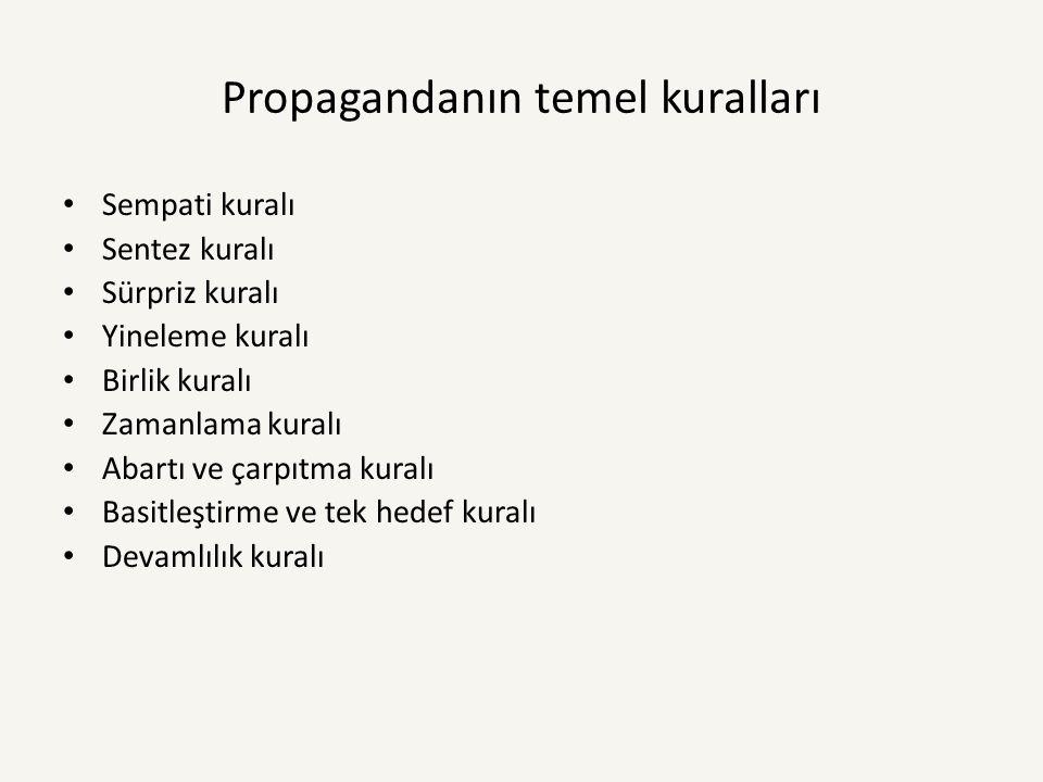 Propaganda Çeşitleri ve Araçları 1-Kişisel Propaganda ve Kitle Propagandası 2- Siyasal Propaganda ve sosyolojik Propaganda 3- Karışıklık Propaganda ve