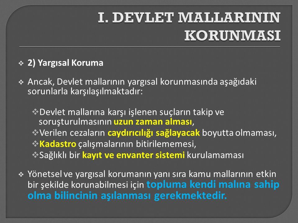  2) Yargısal Koruma  Ancak, Devlet mallarının yargısal korunmasında aşağıdaki sorunlarla karşılaşılmaktadır:  Devlet mallarına karşı işlenen suçlar