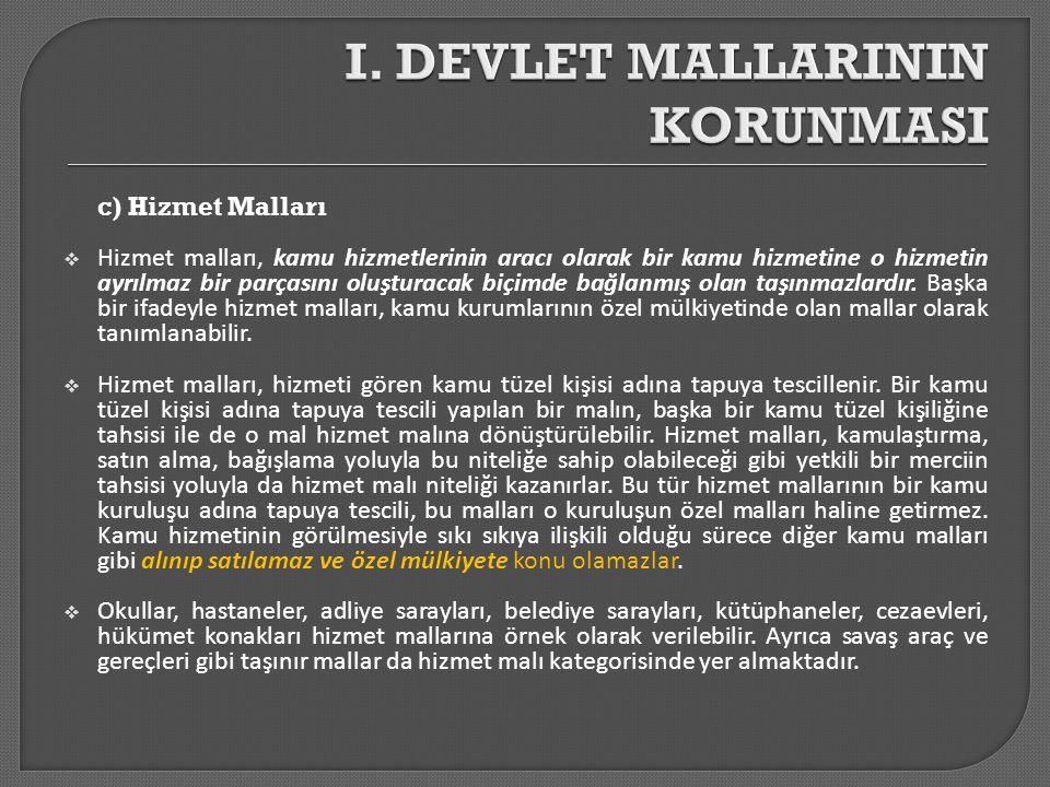 a) Taşınır Malların Korunması  Bunlar;  5237 sayılı Türk Ceza Kanunu (madde: 148, 149, 151, 153),  6831 sayılı Orman Kanunu (madde: 91-114,141),  2863 sayılı Kültür ve Tabiat Varlıklarını Koruma Kanunu (madde: 23, 24, 30, 75),  1380 sayılı Su Ürünleri Kanunu (madde: 2, 3, 8, 9,19-25, 32- 34)  3167 sayılı Kara Avcılığı Kanunu (madde: 1, 2, 20-26)