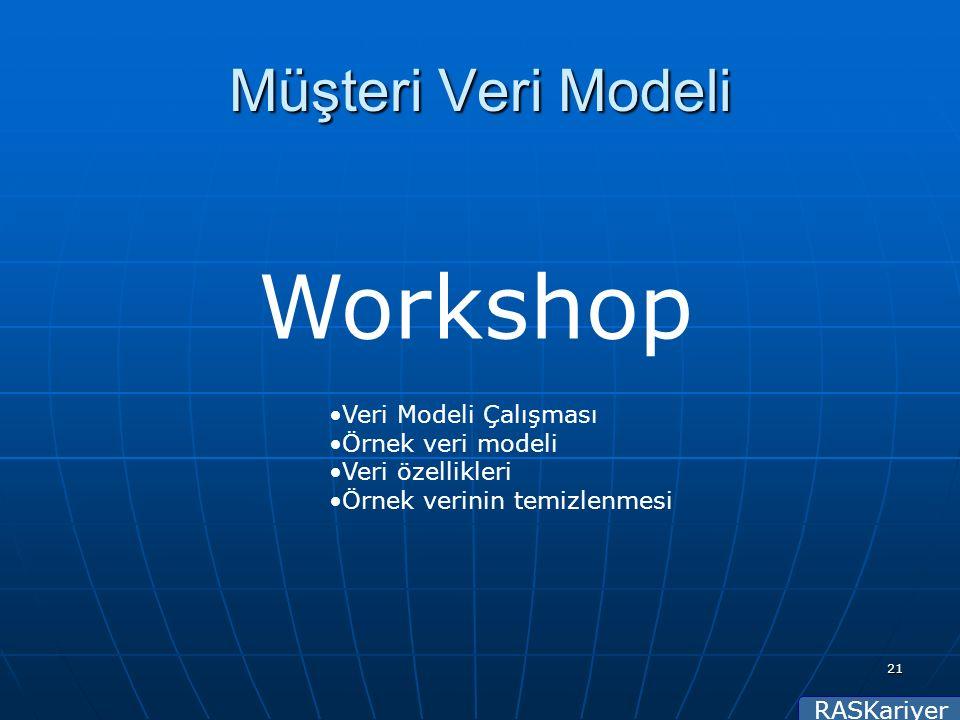 RASKariyer 21 Müşteri Veri Modeli Workshop Veri Modeli Çalışması Örnek veri modeli Veri özellikleri Örnek verinin temizlenmesi
