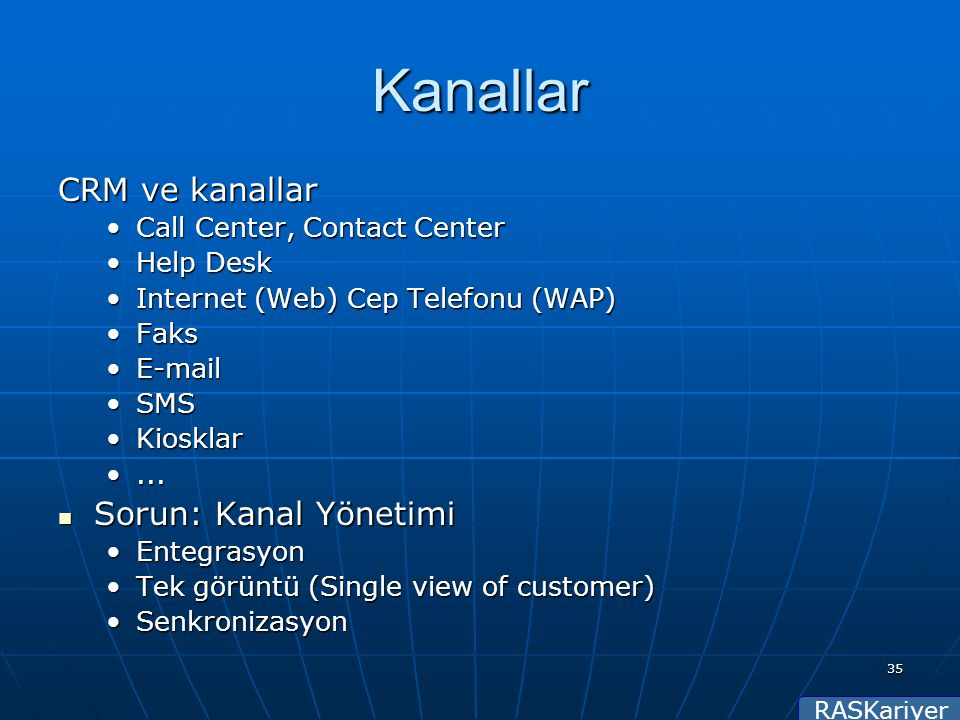 RASKariyer 35 Kanallar CRM ve kanallar Call Center, Contact CenterCall Center, Contact Center Help DeskHelp Desk Internet (Web) Cep Telefonu (WAP)Inte