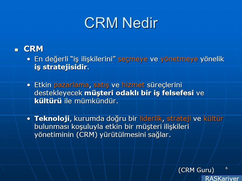 RASKariyer 6 CRM Nedir CRM CRM En değerli iş ilişkilerini seçmeye ve yönetmeye yönelik iş stratejisidir.En değerli iş ilişkilerini seçmeye ve yönetmeye yönelik iş stratejisidir.