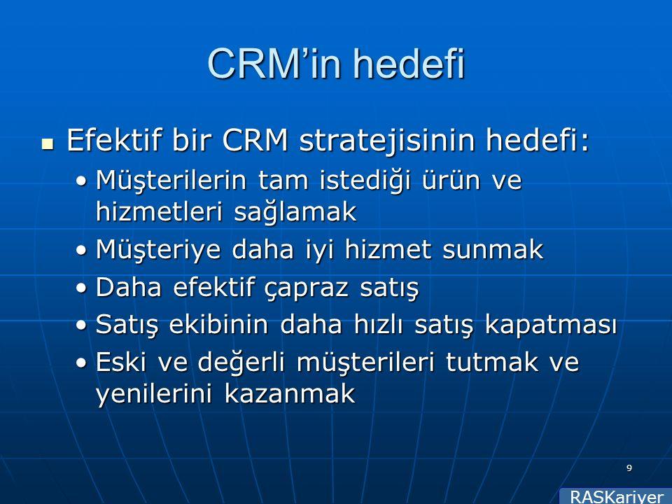 RASKariyer 9 CRM'in hedefi Efektif bir CRM stratejisinin hedefi: Efektif bir CRM stratejisinin hedefi: Müşterilerin tam istediği ürün ve hizmetleri sağlamakMüşterilerin tam istediği ürün ve hizmetleri sağlamak Müşteriye daha iyi hizmet sunmakMüşteriye daha iyi hizmet sunmak Daha efektif çapraz satışDaha efektif çapraz satış Satış ekibinin daha hızlı satış kapatmasıSatış ekibinin daha hızlı satış kapatması Eski ve değerli müşterileri tutmak ve yenilerini kazanmakEski ve değerli müşterileri tutmak ve yenilerini kazanmak