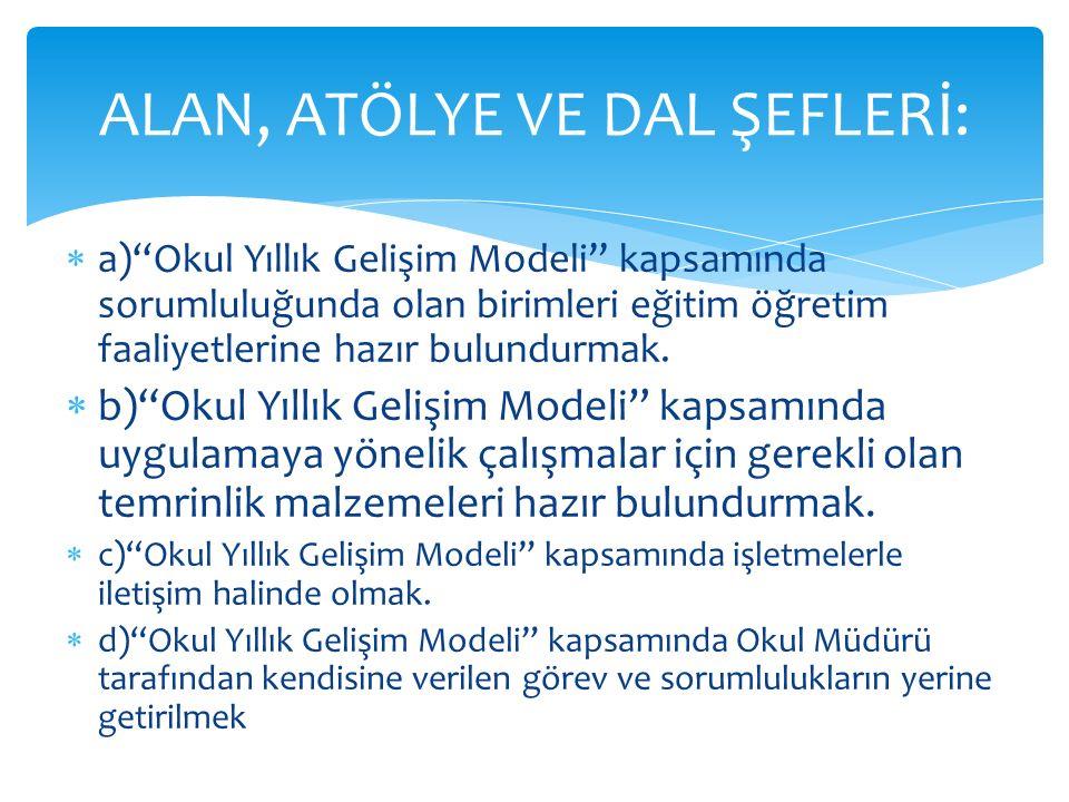 """ a)""""Okul Yıllık Gelişim Modeli"""" kapsamında sorumluluğunda olan birimleri eğitim öğretim faaliyetlerine hazır bulundurmak.  b)""""Okul Yıllık Gelişim Mo"""