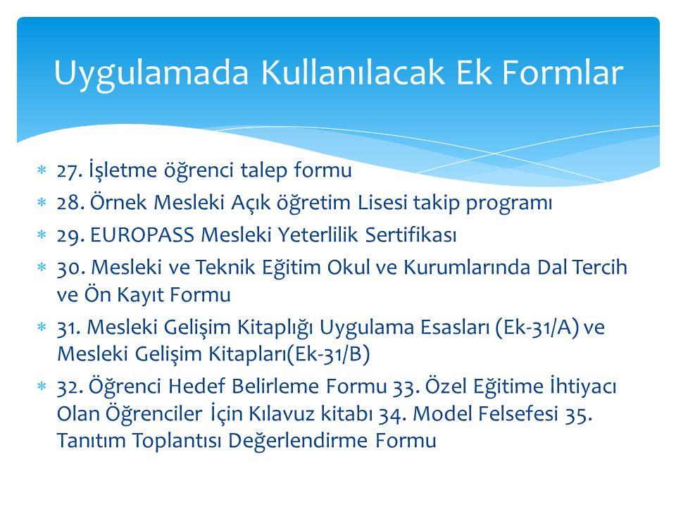  27. İşletme öğrenci talep formu  28. Örnek Mesleki Açık öğretim Lisesi takip programı  29. EUROPASS Mesleki Yeterlilik Sertifikası  30. Mesleki v