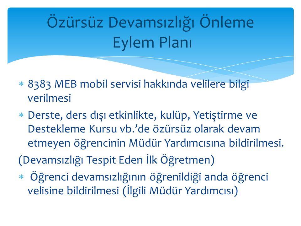  8383 MEB mobil servisi hakkında velilere bilgi verilmesi  Derste, ders dışı etkinlikte, kulüp, Yetiştirme ve Destekleme Kursu vb.'de özürsüz olarak devam etmeyen öğrencinin Müdür Yardımcısına bildirilmesi.