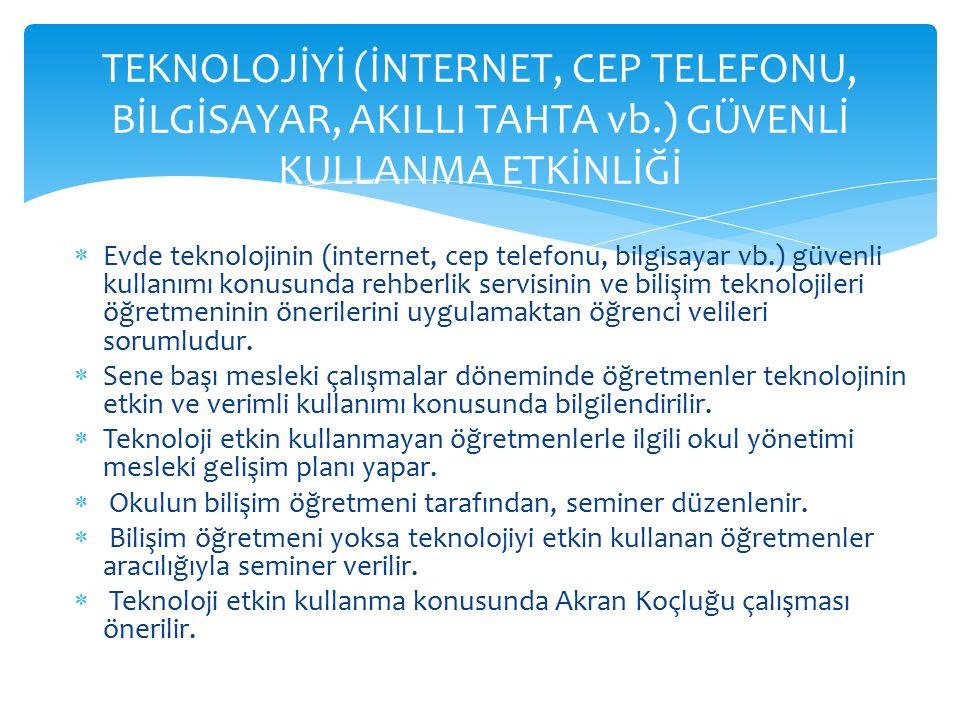  Evde teknolojinin (internet, cep telefonu, bilgisayar vb.) güvenli kullanımı konusunda rehberlik servisinin ve bilişim teknolojileri öğretmeninin ön