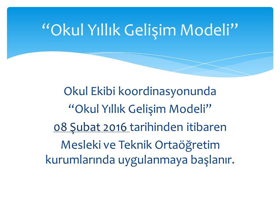 Okul Ekibi koordinasyonunda Okul Yıllık Gelişim Modeli 08 Şubat 2016 tarihinden itibaren Mesleki ve Teknik Ortaöğretim kurumlarında uygulanmaya başlanır.