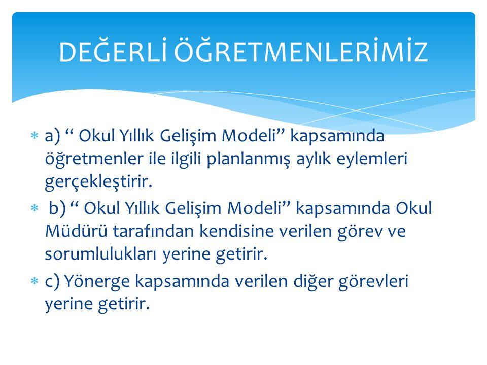""" a) """" Okul Yıllık Gelişim Modeli"""" kapsamında öğretmenler ile ilgili planlanmış aylık eylemleri gerçekleştirir.  b) """" Okul Yıllık Gelişim Modeli"""" kap"""