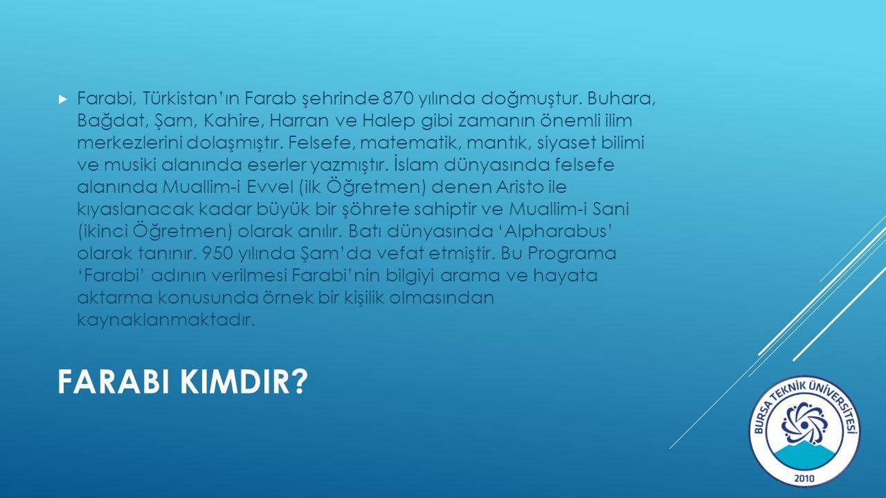 FARABI KIMDIR.  Farabi, Türkistan'ın Farab şehrinde 870 yılında doğmuştur.