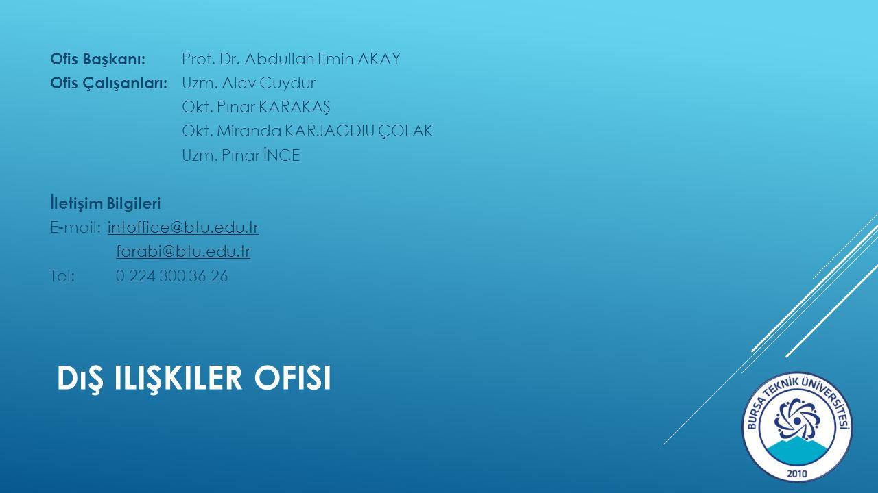 DıŞ ILIŞKILER OFISI Ofis Başkanı: Prof. Dr. Abdullah Emin AKAY Ofis Çalışanları: Uzm.