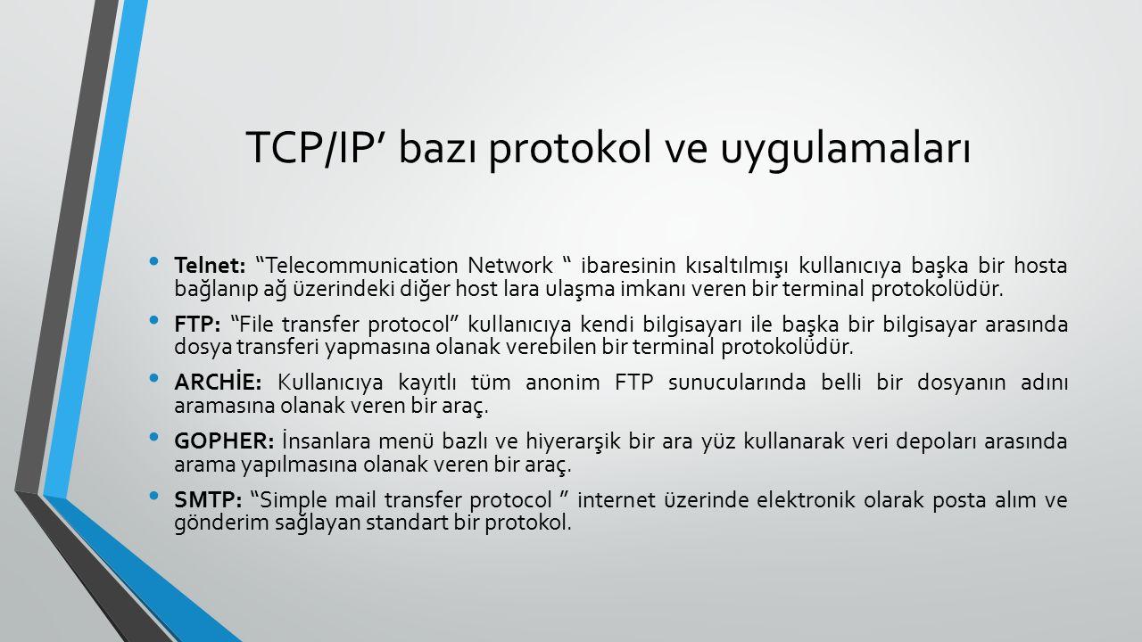 TCP/IP' bazı protokol ve uygulamaları Telnet: Telecommunication Network ibaresinin kısaltılmışı kullanıcıya başka bir hosta bağlanıp ağ üzerindeki diğer host lara ulaşma imkanı veren bir terminal protokolüdür.