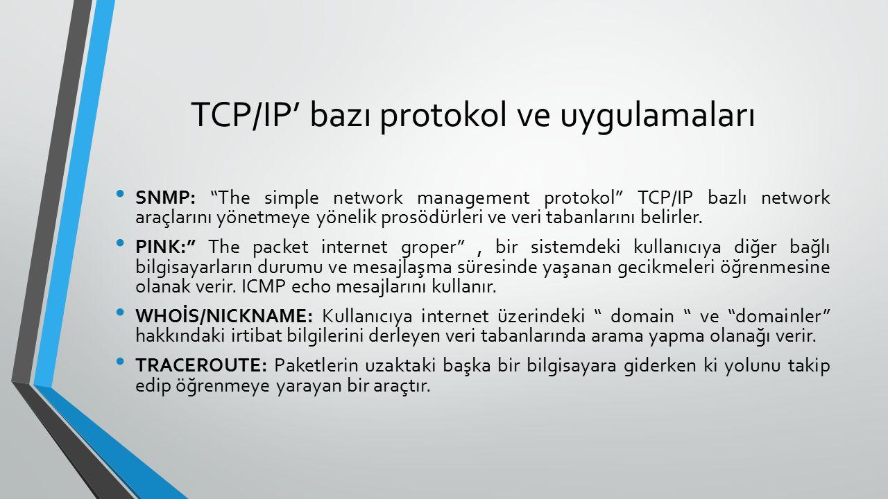 TCP/IP' bazı protokol ve uygulamaları SNMP: The simple network management protokol TCP/IP bazlı network araçlarını yönetmeye yönelik prosödürleri ve veri tabanlarını belirler.