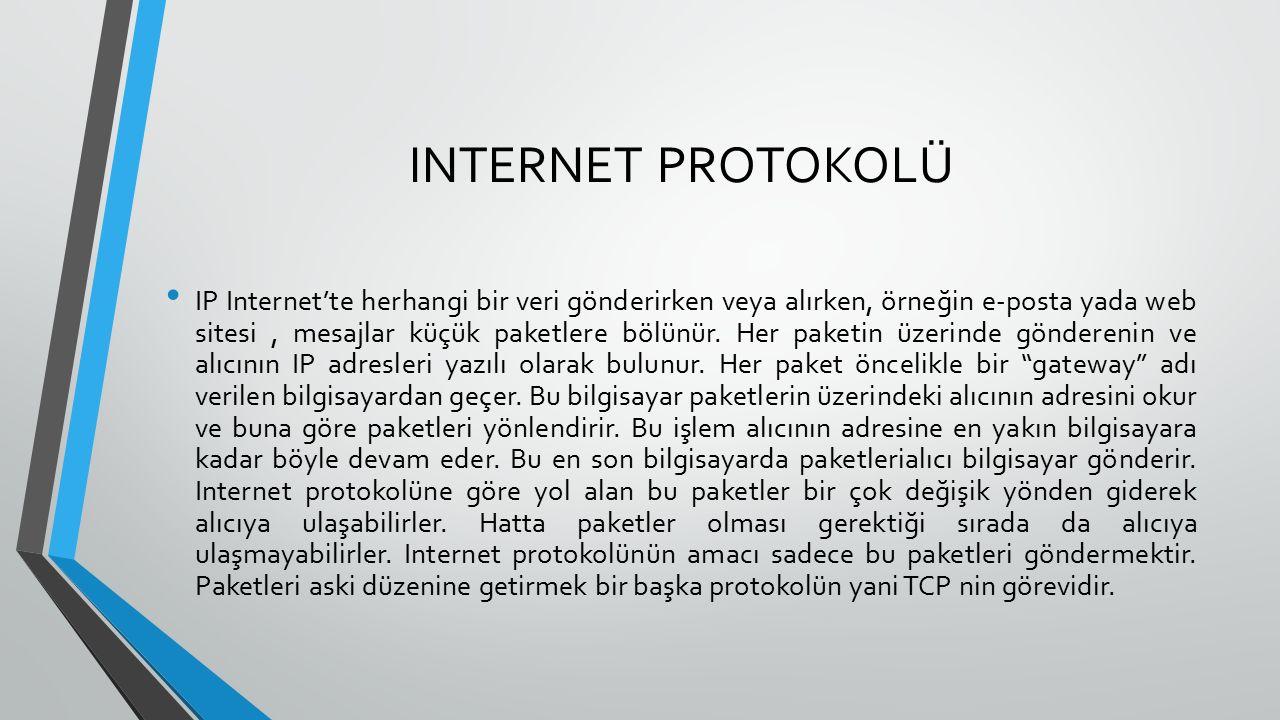 INTERNET PROTOKOLÜ IP Internet'te herhangi bir veri gönderirken veya alırken, örneğin e-posta yada web sitesi, mesajlar küçük paketlere bölünür.