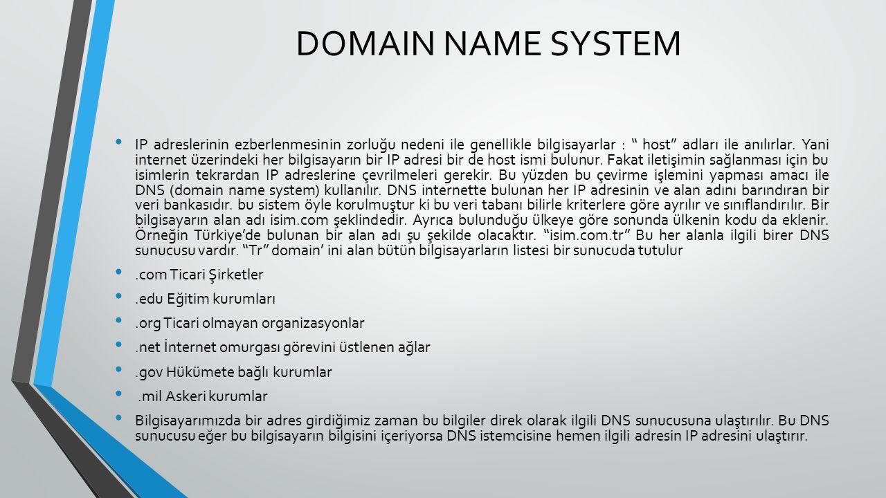 DOMAIN NAME SYSTEM IP adreslerinin ezberlenmesinin zorluğu nedeni ile genellikle bilgisayarlar : host adları ile anılırlar.
